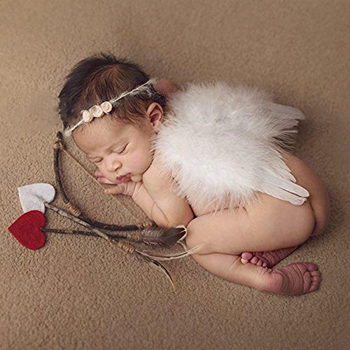 Baby Wings, Newborn Baby Lovely White Feather Angel Wings with Headband Bow Swords Infant Cupid Costume Photo Prop Outfit Easter April Fools Day - Photo Angel Wings Newborn Prop