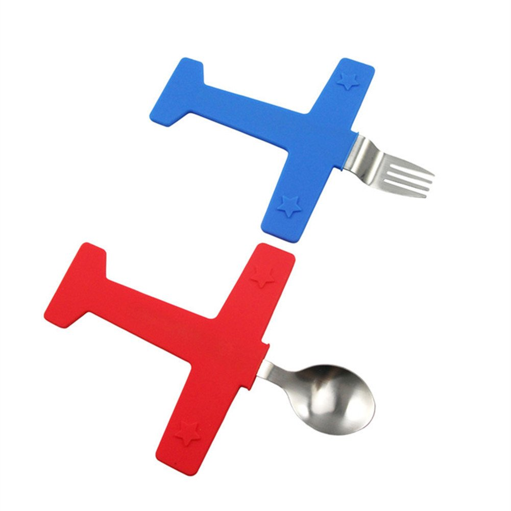 Creative Stainless Steel Airplane Fork Spoon Set Kids Tableware Sets EQLEF®