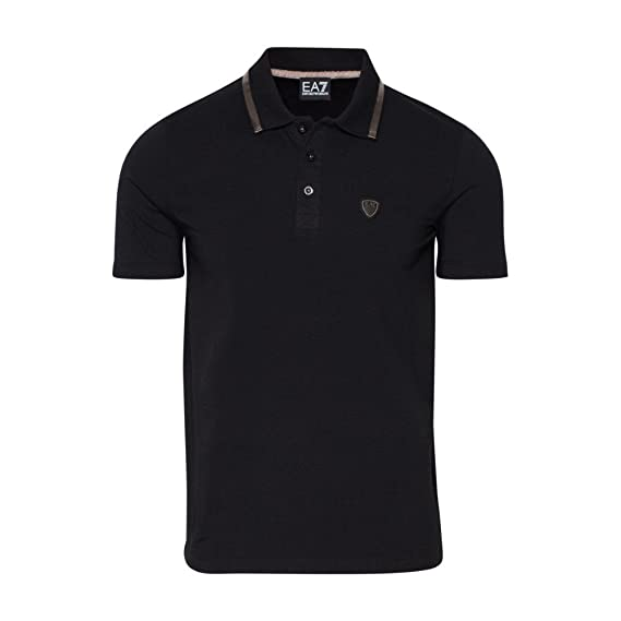 Emporio Armani EA7 men's short sleeve t-shirt polo collar black