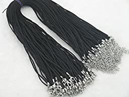 KONMAY 50pcs Black Satin Silk Necklace Cord 2.0mm/20\'\' with 2\'\' Extension Chain Lead&nickel Free
