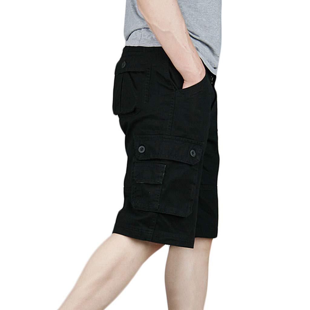 Alangbudu Men Lightweight Cargo Midi Short Relaxed Fit Multi-Pocket Outdoor Athletic Durable Big /&Tall Jammer Sportwear