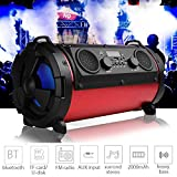 15W LCD Wireless Bluetooth Speaker Stereo Super Bass Subwoofer FM AUX TF(Color:red)