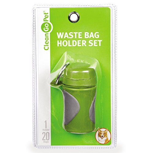 Clean Go Pet Axis Dog Waste Bag Holder, One 20-Count Perforated Roll of Leakproof Poop Bags, Carabiner Clip for…