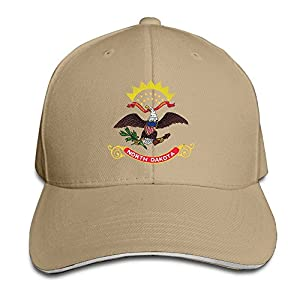 Ws WellShopping North Dakota Flag Element Design Custom Sandwich Peaked Cap Unisex Baseball Hat