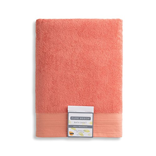 (Pure Beech 2-Piece Bath Sheet Towel Set - Cotton Modal Blend - Hotel Quality, Bright, Super Soft and Highly Absorbent - Mango)
