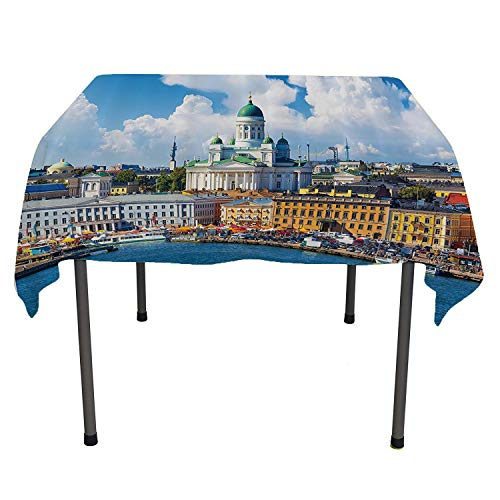 European Cityscape Decor Collection, Table ClothsScenic Summer of The Market Square Old Town Helsinki Finnish Northern Skyline Home, for Kitchen Dinning Tabletop Decor, 50x50 Inch Multi