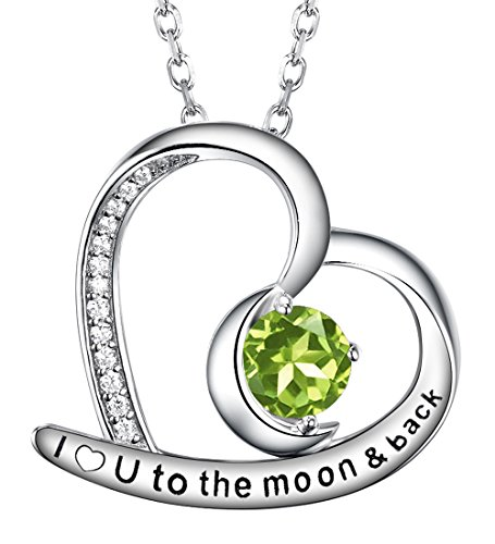 Re Besta Green Peridot Jewelry Gifts I Love You to the Moon and Back Heart and Moon Pendant Necklace for Women Birthday Anniversary Gifts for Wife Her with Sterling - Center Zirconia Stone Peridot Cubic