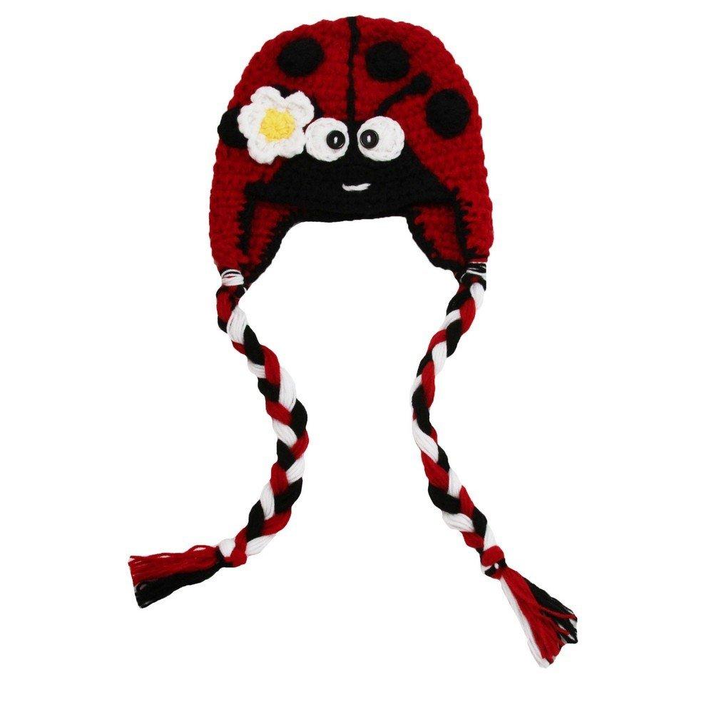 Dress Up Dreams Boutique Little Girls Red Black Lady Bug Long Braids Soft Cotton Crochet Hat 2-4 Y