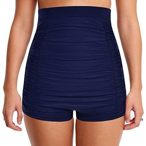 Hilor Women's Retro Ultra High Waisted Swim Bottom Boy Leg Tankini Shorts Ruched Swimwear Briefs Navy 18 -