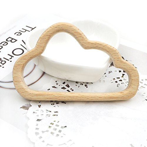 Ivanica 10pcs 92mm big cloud shape beech pendent WOODEN TEETHER hand carving animal teether baby wood teether