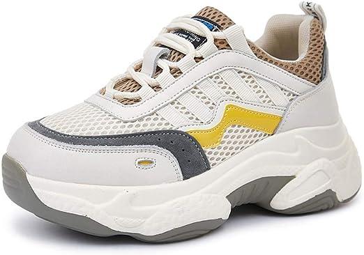 SHOES-HY Zapatillas de Tenis Air Running para Mujer Zapatillas de Deporte Cruzadas Ligeras Entrenamiento Deporte Gimnasio Zapatillas Deportivas,Amarillo,38: Amazon.es: Jardín
