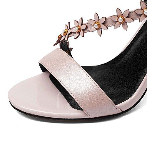 Pescado Hebillas Zapatos Tacones Sandalias Tacones Finos Altos Verano Flores Boca de de Pink Nuevas Zn4qwU