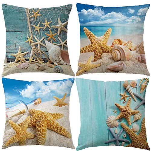 7COLORROOM Nautical Coastal Decor Pillow Covers Starfish/Seashell/Sand/Conch/Beach House Decorative Cushion Covers 18 x 18 Inch Sea Theme Home Decorative Pillowcases, 4 Pack (Starfish)