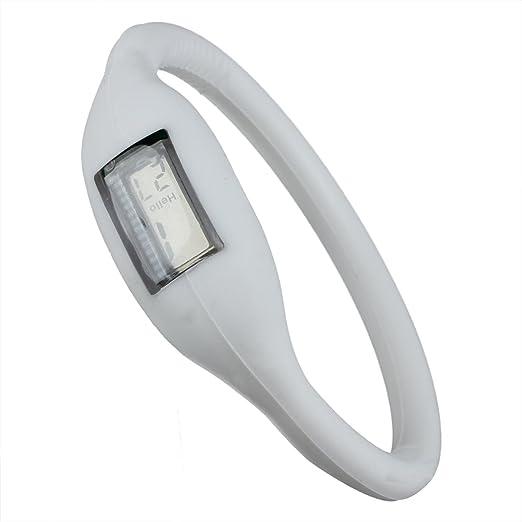 TOOGOO Reloj de Pulsera Unisex de Deportes Digital de goma de Silicone de aniones de jalea Blanco: Amazon.es: Relojes