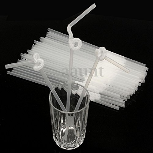 100Pcs Reusable Flexible Clear Birthday Wedding Party Plastic Drinking Straws