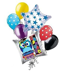 Amazon.com: 7 pc Buho Lo Lograste Gelicidades Al Fin, Yeah! Graduado Balloon Bouquet Grad: Toys