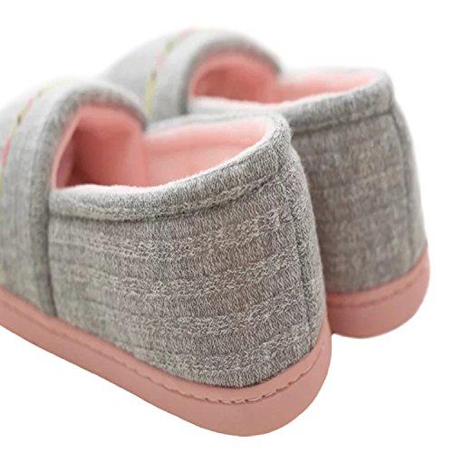 Cotton Soft Cozy Slippers Women's bestfur House Sole Grey knitting Warm Plush Shoes Winter wqCtqYxIT