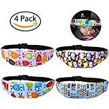 Leyaron 4 Pcs Toddler Car Seat Infants and Baby Head Support, Car Seat Neck Relief Head Strap, Safety Stroller Adjustable Head Holder Sleep Belt