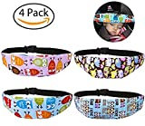 Leyaron 4 Pcs Toddler Car Seat Infants and Baby Head Support - Car Seat Neck Relief Head Strap - Safety Stroller Adjustable Head Holder Sleep Belt