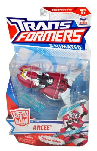 Transformers Animated Series Deluxe Class 6 Inch Tall Robot Action Figure - Autobot Super Spy ARCEE with Double Swords and Clip-On Wings (Vehicle Mode: Rocket Car)