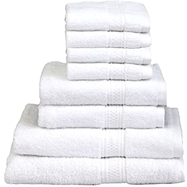 8 Piece Towel Set (White); 2 Bath Towels, 2 Hand Towels & 4 Washcloths - Cotton By Utopia Towels