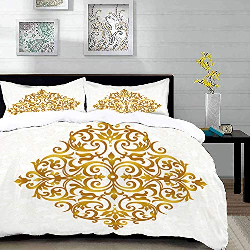 Filigree Design Piece Three - Duvet Cover Set,Mandala Theme Design,Victorian Style Traditional Filigree Inspired Royal Oriental Classic Print,Twin Size Decorative 3 Piece Bedding Set with 2 Pillow Shams,Pale Caramel White ,Super s