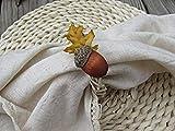 Fall Acorn Oak Leaf Rattan Vine Napkin Ring Holder- Thanksgiving Decoration- Autumn Table Decor (Set of 4, 6, 8, 10, 12)