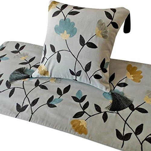 グレーランナー、45 x 133 cmデザイナーツインベッドスカーフグレーコットン刺繍とポンポン Floral Crewel B07CPRKHPY ツイン 45_x_133_cm ベッドランナー 枕カバー付き B8. グレー/マスタード/ティール/黒 B8. グレー/マスタード/ティール/黒 ツイン 45_x_133_cm ベッドランナー 枕カバー付き