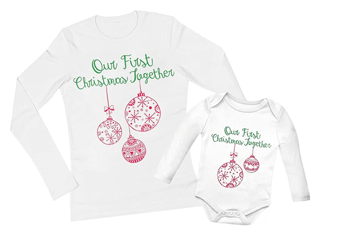 Our First Christmas Together Mother & Baby Boy/Baby Girl Matching Xmas Set