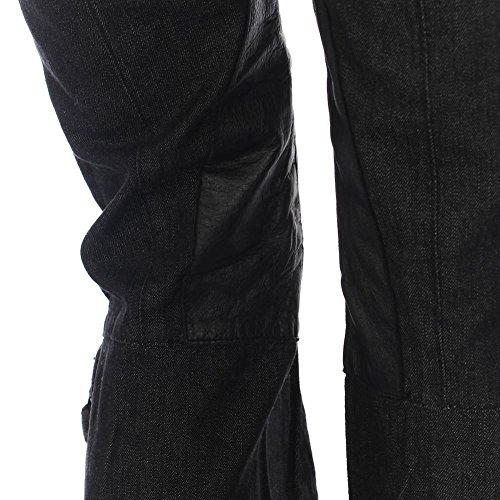 FORNARINA Jeans schwarz Baumwolle mit Lederbesatz Detail