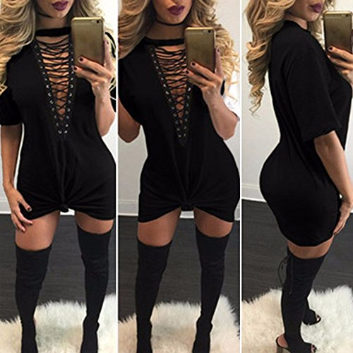 Romacci Women Lace Up Mini Dress Hollow Out Plunge V Short Sleeves Long T-Shirt Plus Size Casual Dress Vestidos at Amazon Womens Clothing store: