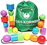 Kids Korner 24 Lacing Beads Set for Toddlers, Jumbo 6 Colors, 4 Shapes Bag, 2 Stringing Bead Laces and Travel Backpack with Activity eBook