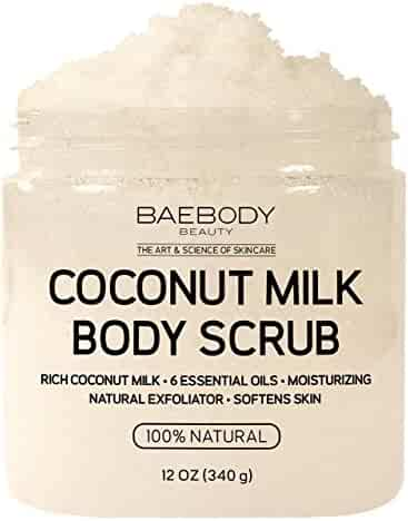 Baebody Coconut Milk Body Scrub: With Dead Sea Salt, Almond Oil, and Vitamin E. - Exfoliator, Moisturizer Promoting Radiant Skin 12oz.