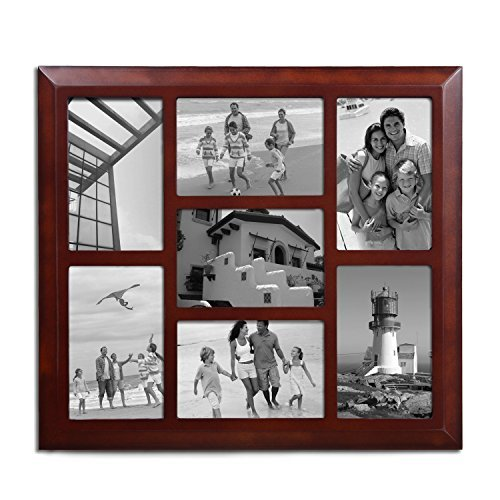 Adeco 7 Openings Decorative Wood Linear Wall Hanging Collage Family Picture Photo Frame - Made to Display Seven 4x6 Photos (4 Vertical, 3 Horizontal) (Walnut)