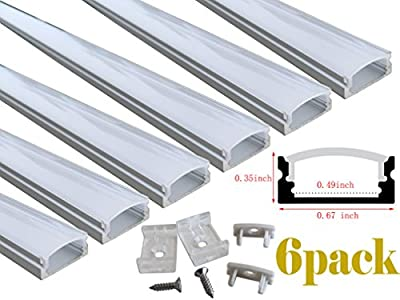 Muzata 6-Pack 3.3ft/1Meter 9x17mm U Shape LED Aluminum Channel System With Cover, End Caps and Mounting Clips Aluminum Profile for LED Strip Light Installations, Led Lights Diffuser Segments.