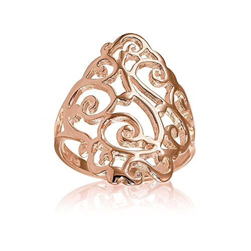 Rose Gold Flashed Sterling Silver Filigree Celtic Floral Swirl Ring, Size 8