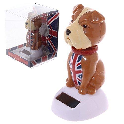Nodding Novelty British Bulldog Solar Powered Flip Flap Bobble Head Solar -