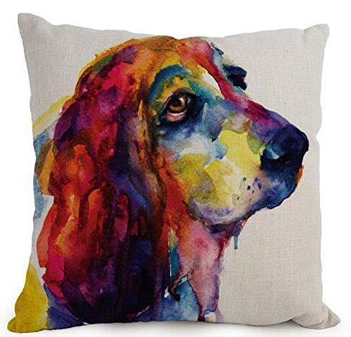 Cotton Linen Cartoon Lovely Animal Abstract Oil Painting Adorable Pet Dogs Basset Hound Throw Pillow Covers Cushion Cover Decorative Sofa Bedroom Living Room Square 18 Inches (Basset Sofas)