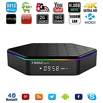 T95Z Plus TV Box Amlogic S912 Octa Core Android 6.0 Marshmallow 4K Kodi Pre-installed 2GB/16GB Dual WiFi 2.4G/5GHz Bluetooth 4.0 H.265 1000M Ethernet Streaming Media Player
