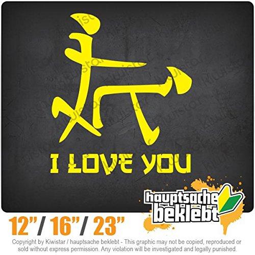 KIWISTAR - I Love YOU characters 15 COLORS - Neon + Chrome! Decal Sticker Bumper Rear Window Vinyl - Perverse Love
