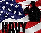 1/2 Sheet - Navy Military Camo America Birthday - Edible Cake/Cupcake Party Topper!!!