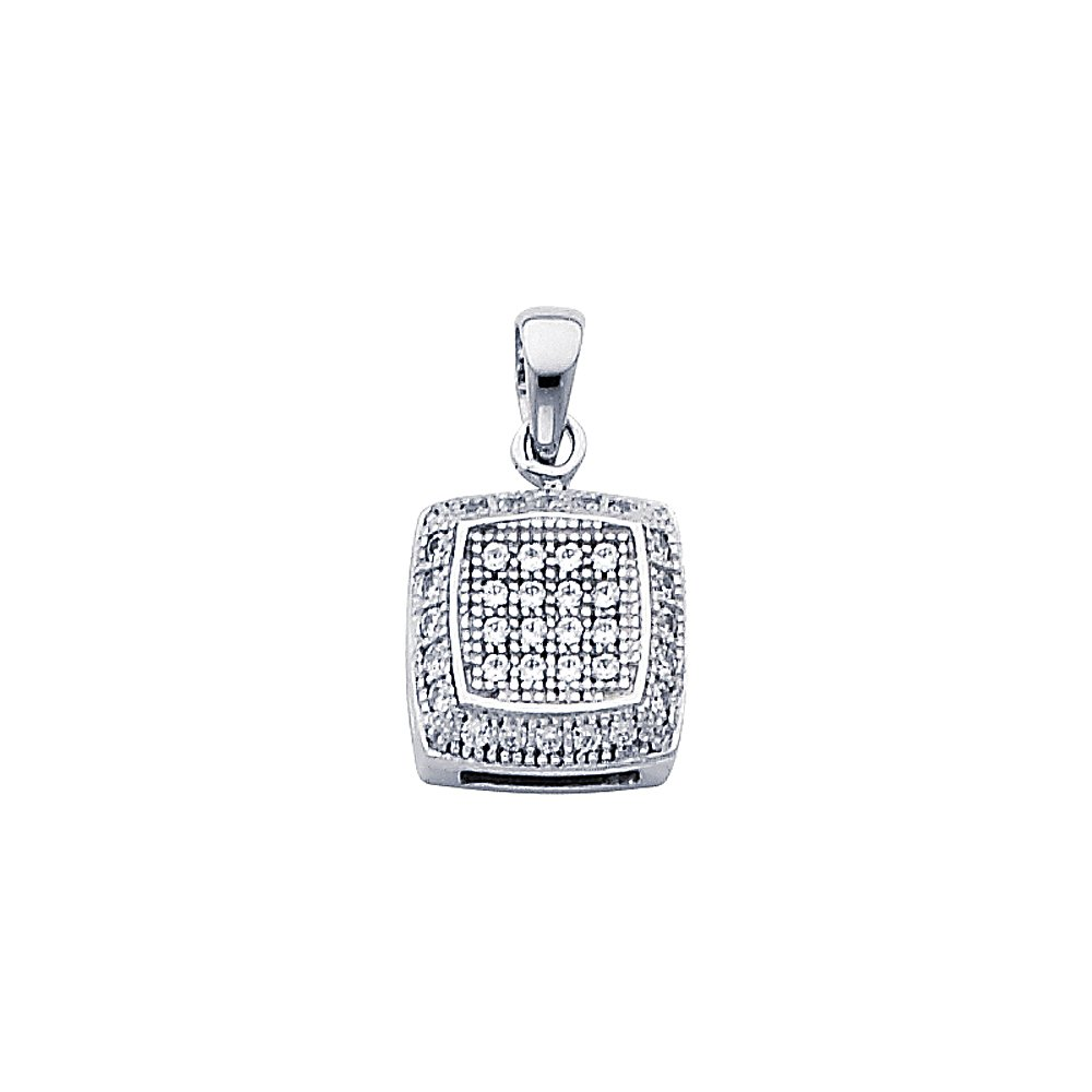 14k White Gold with White CZ Accented Fashion Mini Square Charm Pendant 10mm