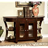 Furniture of America CM-AC141 Newell Dark Cherry Console Table Accent Chairs, Normal