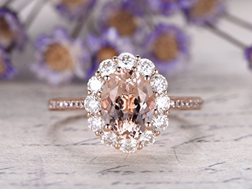 Natural Pink Morganite Wedding Ring,6x8mm Oval Cut Gemstone Solid 14k Rose Gold Charles & Colvard Moissanite Halo Floral Style Engagement Ring Diamond Bridal Promise Anniversary (Antique Style Platinum Engagement Ring)