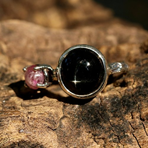 [Silver statement ring with black star diopside and ruby secondary gemstone] (Black Star Diopside Ring)
