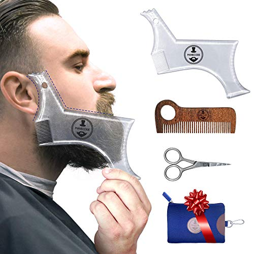MANECODE Beard Shaping Tool - Mens Grooming Kit with Approved Template Guide Wooden Comb Laser Sharpening Scissors and Beard Shaper Tool Case - A Toolset for Your Easy Care