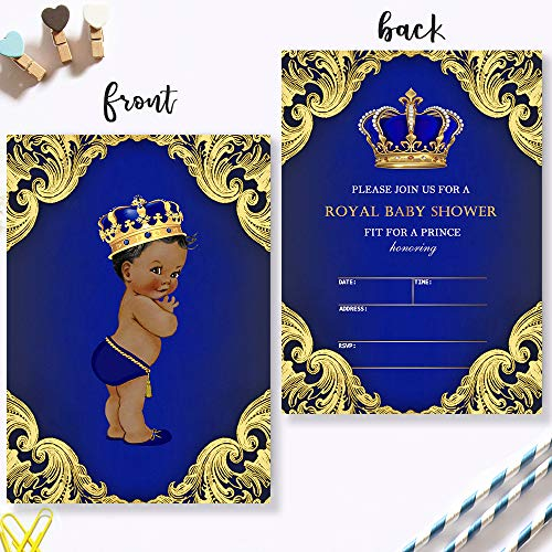 Mocsicka Royal Prince Baby Shower Invitations Royal Blue Crown Baby Prince Baby Shower Party Invite, 20 Fill in Invitations and Envelopes