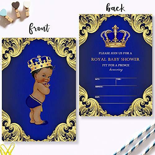 Mocsicka Royal Prince Baby Shower Invitations Royal Blue Crown Baby Prince Baby Shower Party Invite, 20 Fill in Invitations and - Invitation Shower Blue