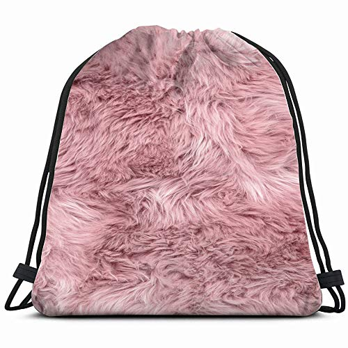 Sheep Fur Pink Sheepskin Rug Abstract Drawstring Backpack Sports Gym Bag For Women Men Children Large Size With Zipper And Water Bottle Mesh Pockets