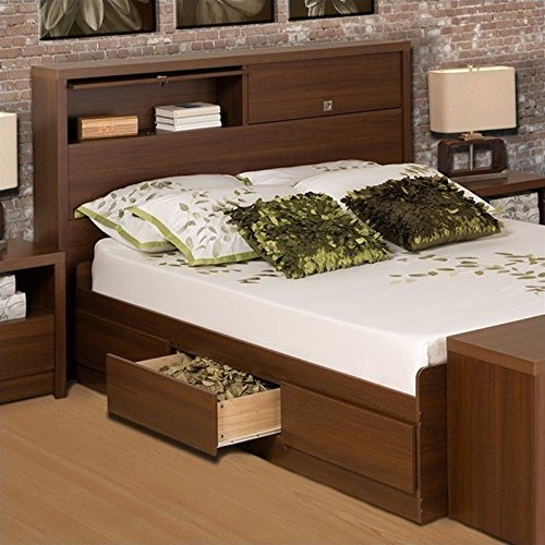 Prepac Series 9 Designer Bed in Medium Brown Walnut - Queen